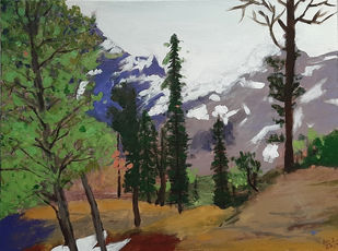 Himachal Forest by Tejal Bhagat, Expressionism Painting, Acrylic on Canvas, Gray color