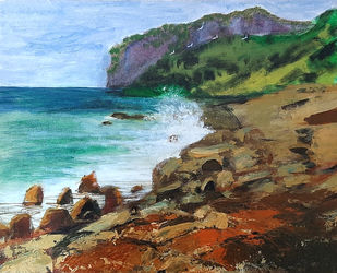 Rocky Shore by Tejal Bhagat, Expressionism Painting, Acrylic on Canvas, Brown color