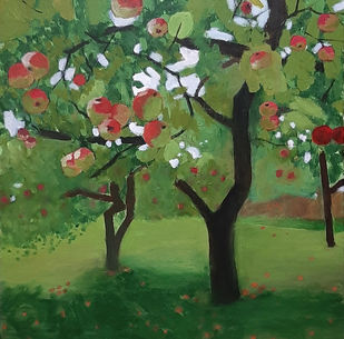 The Sweet Cherries by Tejal Bhagat, Expressionism Painting, Acrylic on Canvas, Green color