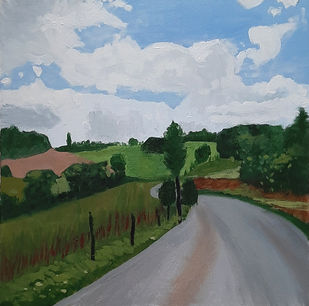 The Road by Tejal Bhagat, Expressionism Painting, Acrylic on Canvas, Green color