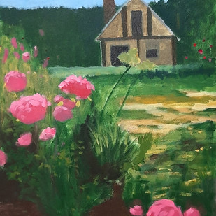 Blossom House by Tejal Bhagat, Expressionism Painting, Acrylic on Canvas, Green color