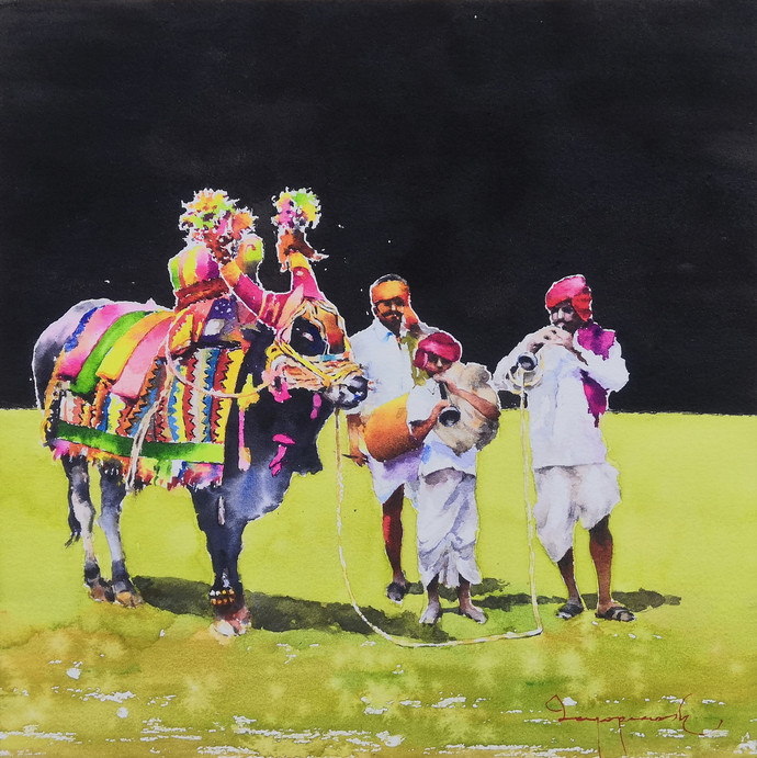 Gangireddu with 3 Masters ( black version ) by Jeyaprakash M, Pop Art Painting, Watercolor on Paper, Gray color