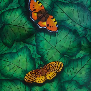 Gift of Nature 3 by Sreya Gupta, Pop Art Painting, Mixed Media on Canvas, Green color