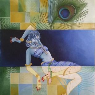 Radha by Gitanjali Sahoo, Fantasy Painting, Acrylic on Canvas, Beige color