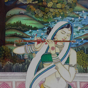 Radha by Gitanjali Sahoo, Traditional Painting, Tempera on Cloth, Green color