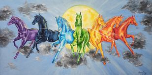 7 Horses of the Sun God by Herendra Swarup , Expressionism Painting, Acrylic on Canvas, Blue color