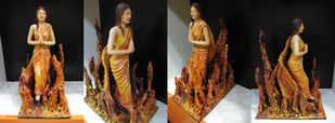 yagyaseni by Aastha Bairollia, Art Deco Sculpture | 3D, Mixed Media, Brown color