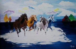 Horses by Aastha Bairollia, Expressionism Painting, Acrylic on Canvas, Blue color