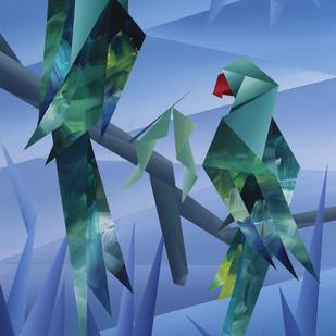 Couple-I by Nirakar Chowdhury, Expressionism Painting, Acrylic on Paper, Blue color