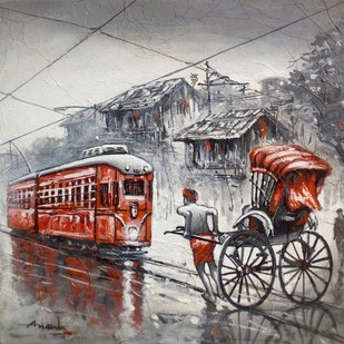 Kolkata by Ananda Das, Impressionism Painting, Acrylic on Canvas, Gray color