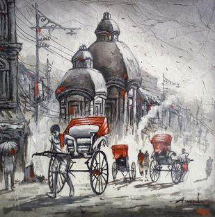 Rickshaw puller by Ananda Das, Impressionism Painting, Acrylic on Canvas, Gray color