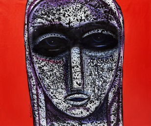 face by Arun K Mishra, Expressionism Painting, Acrylic on Canvas, Red color