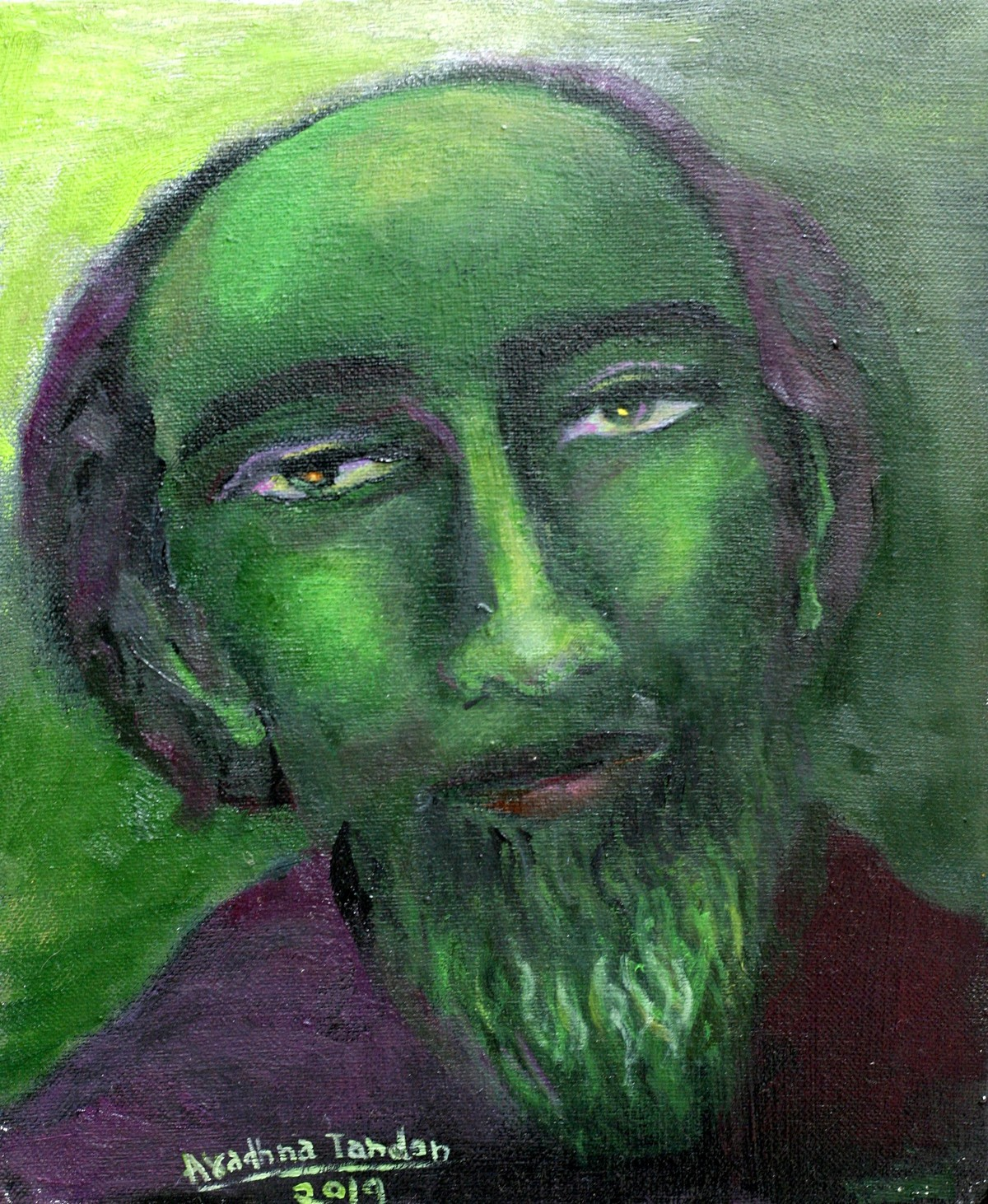 landscape of life by Aradhna Tandon, Expressionism Painting, Oil on Canvas, Green color