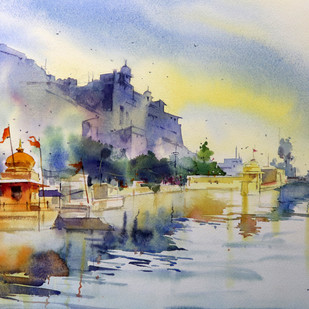 Naval Sagar Bundi by Vikrant Shitole, Impressionism Painting, Pen, pencil, watercolour on paper, Beige color