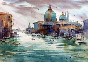 Santa Maria Della Salute by Vikrant Shitole, Impressionism Painting, Pen, pencil, watercolour on paper, Gray color