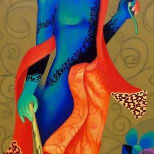 Untitled by Rajesh Shah, Decorative Painting, Acrylic on Canvas, Brown color