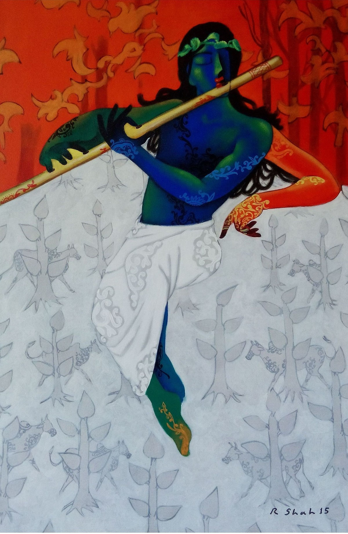 Untitled by Rajesh Shah, Decorative Painting, Acrylic on Canvas, Cyan color