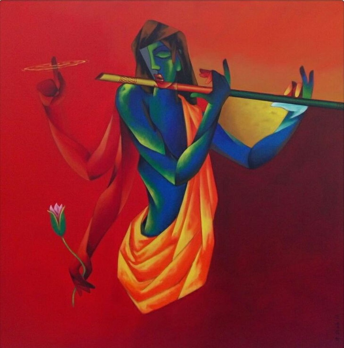 Incarnation by Rajesh Shah, Expressionism Painting, Acrylic on Canvas, Red color