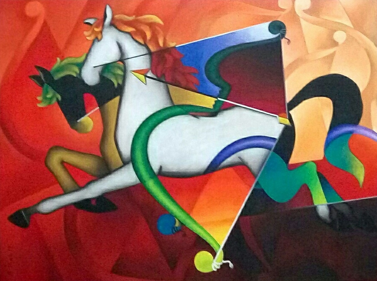 The Goal by Rajesh Shah, Decorative Painting, Acrylic on Canvas, Brown color
