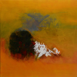 Spring-Untold stories 3 by Sadhana Raddi, Abstract Painting, Acrylic & Ink on Canvas, Brown color
