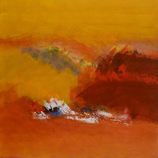 Spring-Untold stories 4 by Sadhana Raddi, Abstract Painting, Acrylic & Ink on Canvas, Orange color
