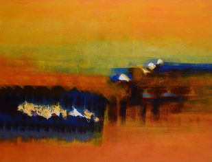 Spring-Untold stories 2 by Sadhana Raddi, Abstract Painting, Acrylic & Ink on Canvas, Orange color