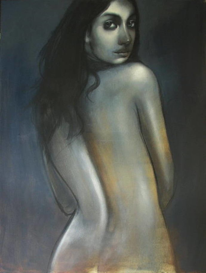 Blue Innocence by Kanchanmala Ghosh, Expressionism Painting, Acrylic & Graphite on Canvas, Gray color