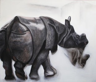 The Rhino by Alka Jhamb, Expressionism Painting, Acrylic & Graphite on Canvas, Gray color