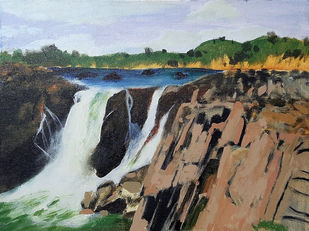 Rocky Waterfall by Tejal Bhagat, Impressionism Painting, Acrylic on Canvas, Brown color