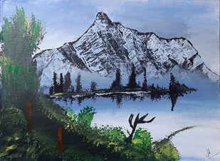 Snow Mountains by Tejal Bhagat, Impressionism Painting, Acrylic on Canvas, Cyan color