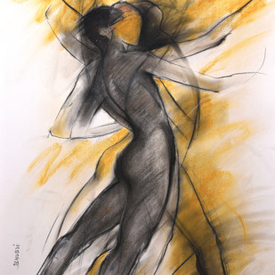 Inner Guidance by J. B. Hubli, Expressionism Drawing, Charcoal on Paper, Beige color