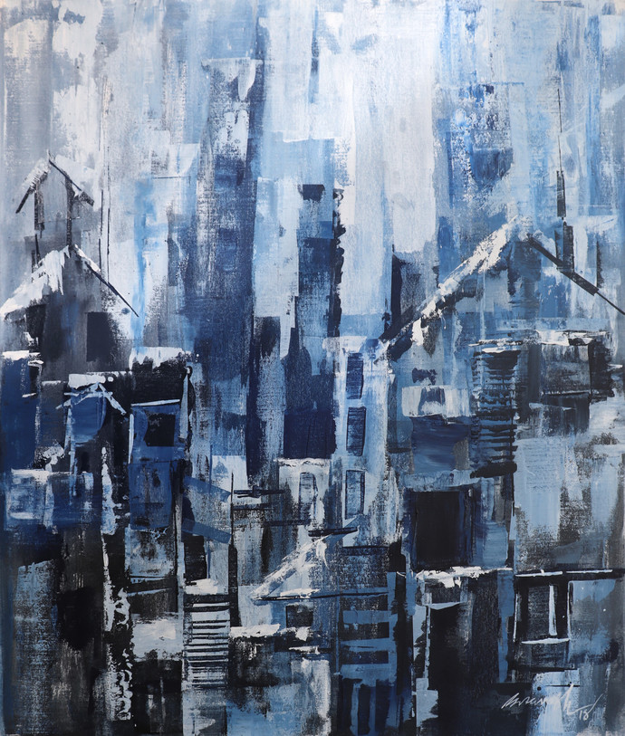 Winter season by A.R.Ramesh, Abstract Painting, Acrylic on Canvas, Blue color