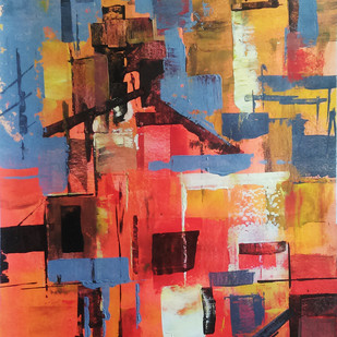 Red City Digital Print by A.R.Ramesh,Abstract