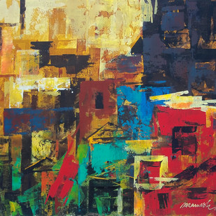 The City 1 by A.R.Ramesh, Abstract Painting, Acrylic on Canvas, Brown color