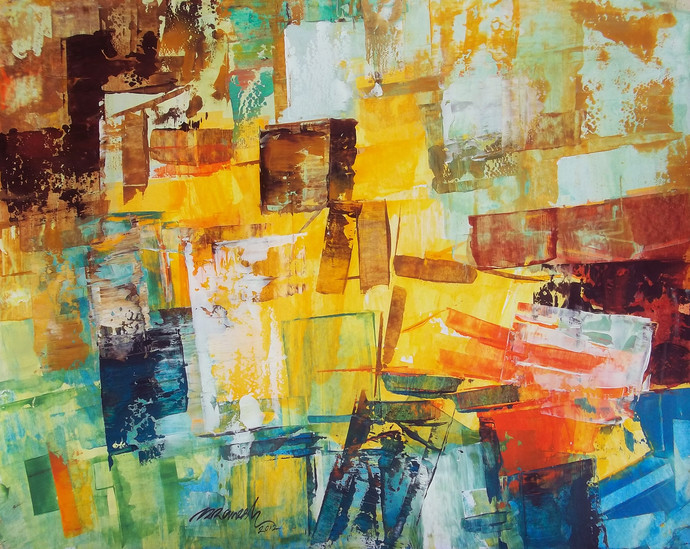 Street by A.R.Ramesh, Abstract Painting, Acrylic on Board, Beige color