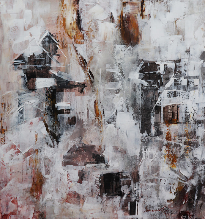 Old city by A.R.Ramesh, Abstract Painting, Acrylic on Canvas, Gray color