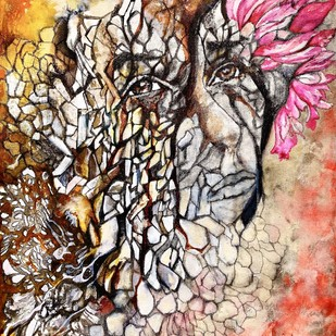 hope by onima kashyap, Fantasy Painting, Acrylic & Graphite on Canvas, Brown color