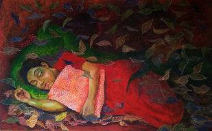 Ephemeral experience by Archana Rajguru, Expressionism Painting, Tempera on Paper, Brown color