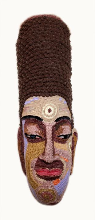 Face 26 by Archana Rajguru, Art Deco Sculpture | 3D, Mixed Media, Brown color
