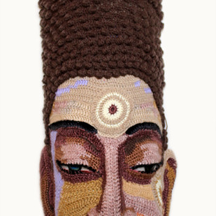 Face 26 by Archana Rajguru, Art Deco Sculpture | 3D, Mixed Media, Brown color