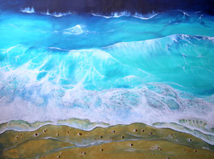 Blue and Gold by Shveta Saxena, Impressionism Painting, Acrylic on Canvas, Cyan color