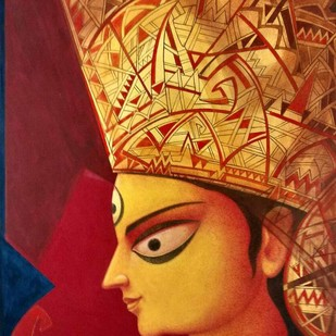 "Durga, Tempera on Board, Red, Yellow, Orange Colours by Contemporary Artist ""In Stock"" by Atin Basak, Expressionism Painting, Tempera on Canvas, Brown color"