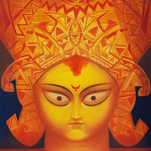 "Durga, Tempera on Board, Red, Yellow, Orange Colours by Contemporary Artist ""In Stock"" by Atin Basak, Expressionism Painting, Tempera on Board, Orange color"