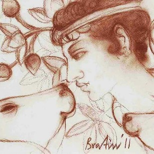 "Krishna, Conte on Paper by Contemporary Artist ""In Stock"" by Bratin Khan, Illustration Painting, Conte on Paper, Beige color"