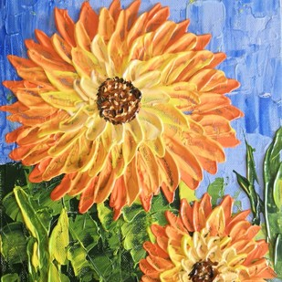 Blooming Sunflower by Barnali Basu Goswami, Expressionism Painting, Mixed Media on Board, Brown color