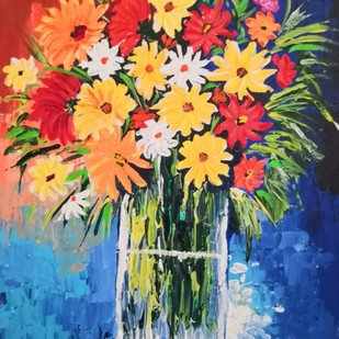 Flower Vase by Barnali Basu Goswami, Expressionism Painting, Acrylic on Board, Blue color