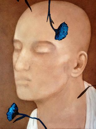 """Untitled, Acrylic on Canvas, Brown, Blue Colours by Contemporary Artist """"In Stock"""" by Chandra Bhattacharjee, Expressionism Painting, Acrylic on Canvas, Brown color"""