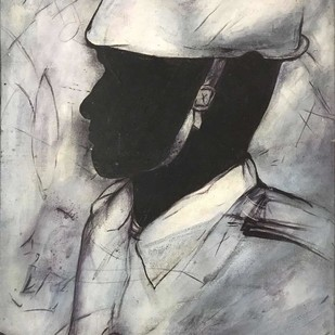 """Soldier, Acrylic on Canvas, Black, Grey Colours by Contemporary Artist """"In Stock"""" by Chandra Bhattacharjee, Illustration Painting, Acrylic on Canvas, Gray color"""
