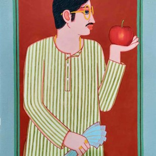 "Babu, Tempera on Board, Red, Blue, Yellow Colours by Modern Artist ""In Stock"" by Lalu Prasad Shaw, Expressionism Painting, Tempera on Board, Beige color"
