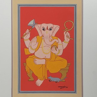 "Ganesha, Tempera on Board, Red, Yellow, Orange Colours by Modern Artist ""In Stock"" by Lalu Prasad Shaw, Expressionism Painting, Tempera on Board, Brown color"